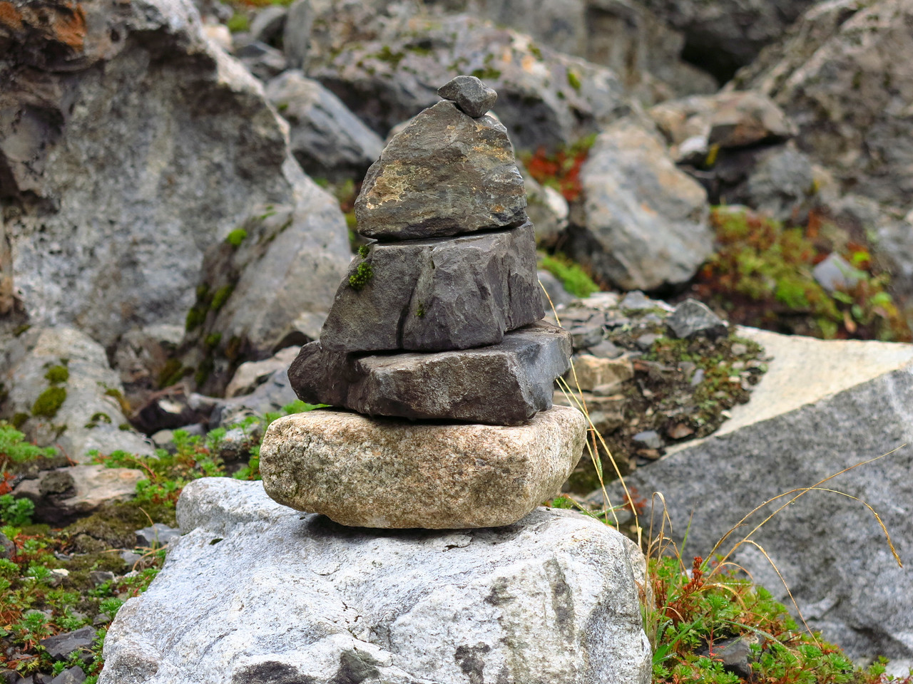 Someone stacked rocks along the trail.