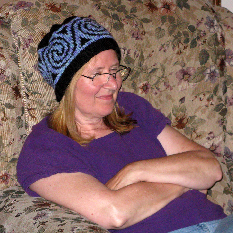 Mary is wearing her new knit hat, which she bought at the Leavenworth Farmer's Market.