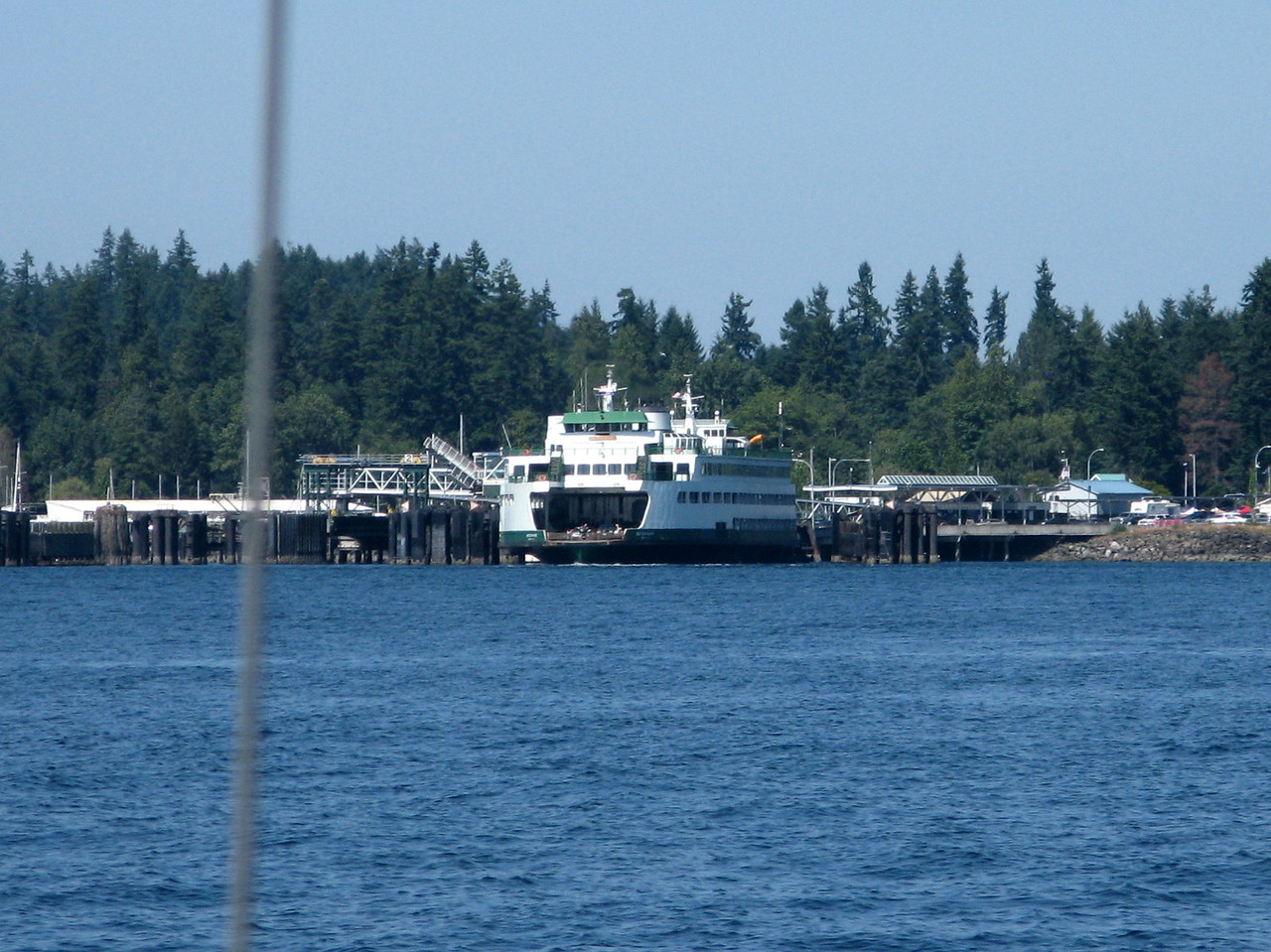 A ferry at the dock in Kingston.