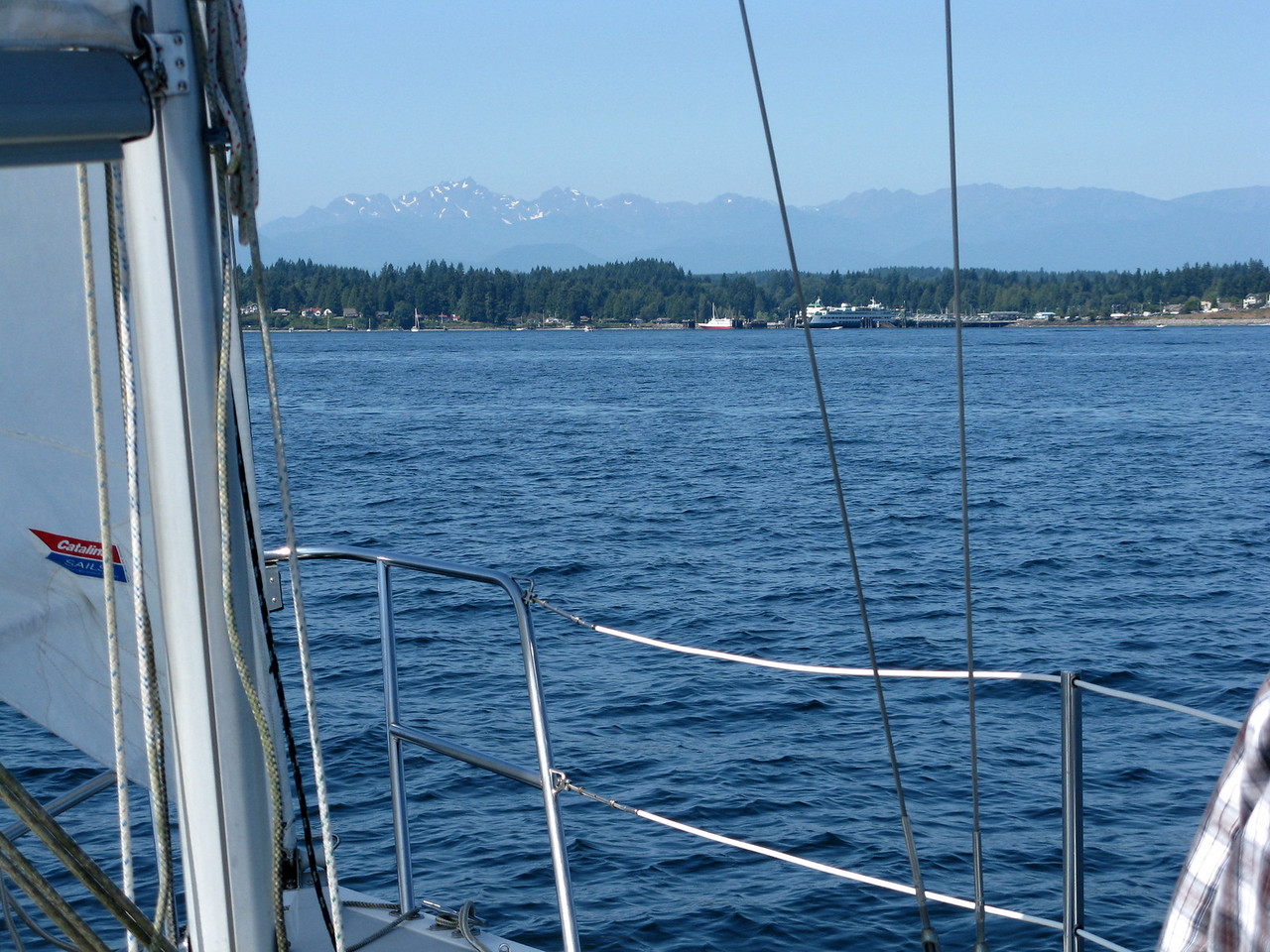 Patches of snow can be seen on the Olympic Mountains in the distance above Kingston as we head west.