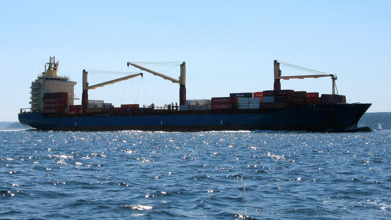 Another view of the container ship.