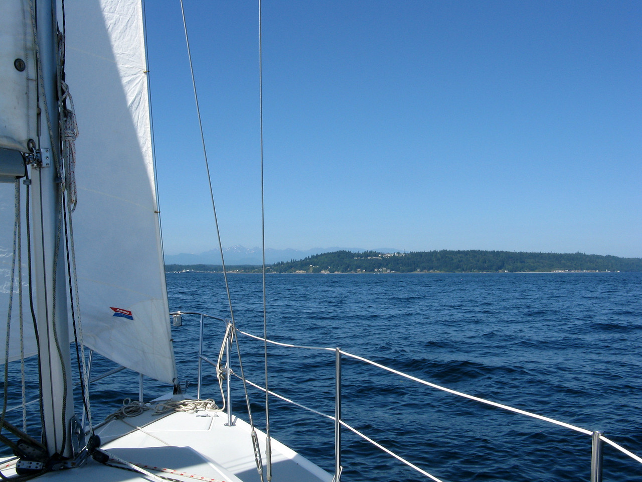 Headed west across Puget Sound.  The winds were light when we started out.