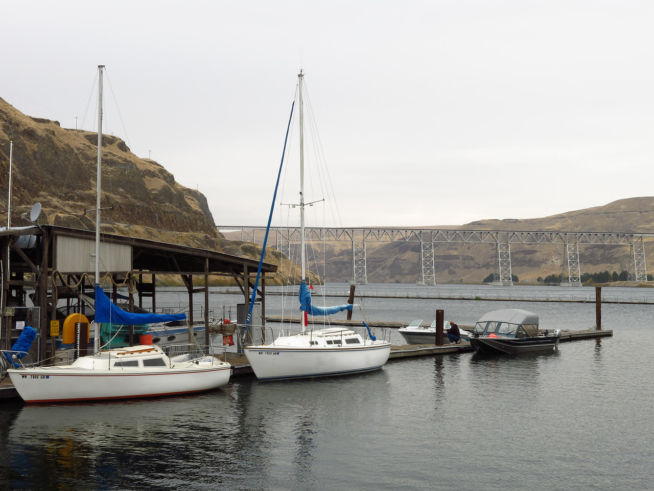 We stopped at the marina at Lyons Ferry to look around.  The bridge in the distance is a railroad bridge.  Martin was surprised to see sailboats on the Snake River.  The first one is a Catalina 22 and the second one is Catalina 27.