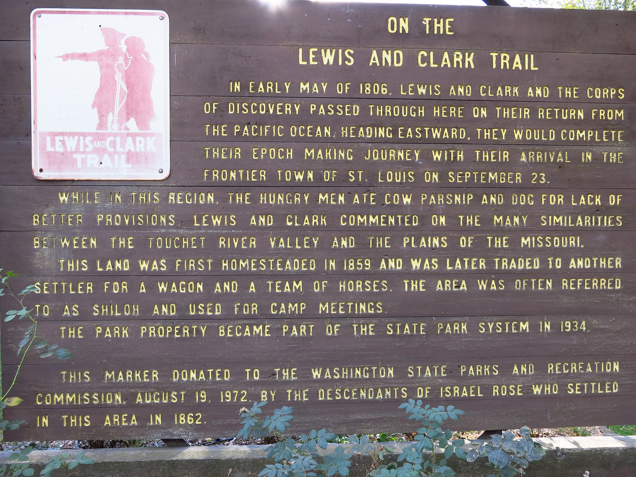 This is the sign, which describes Lewis and Clark's route through this area on their return trip from the west coast.