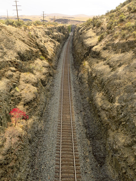 This is the rail line in a view looking south towards the Snake RIver, from the car bridge near the state park.