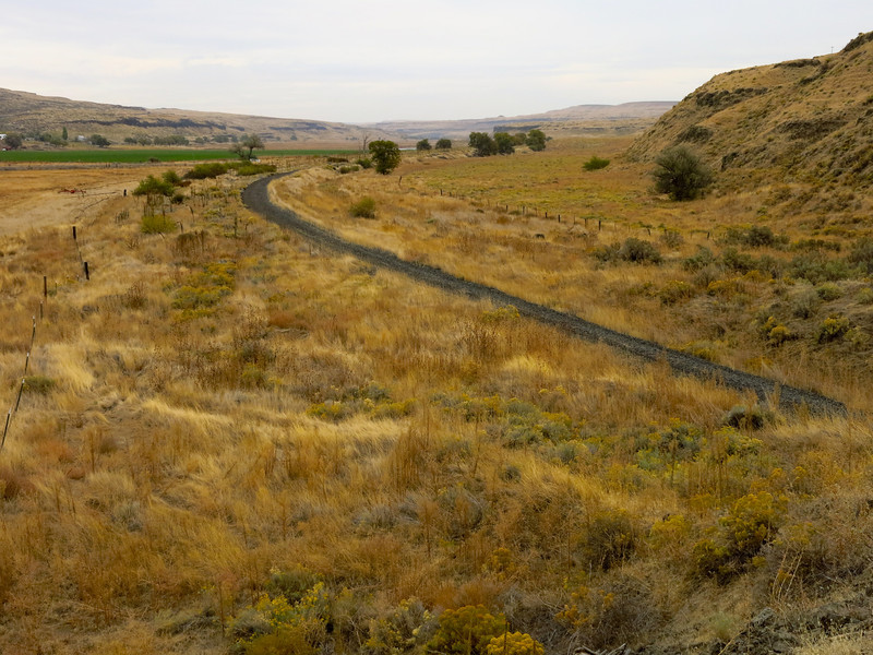 After leaving Palouse Falls, we headed north on Washington State Highway 261 to its intersection with Washington State Highway 260 east of the town of Kahlotus.  We crossed the Columbia Plateau Trail, which is a rail trail on the abandoned roadbed of the old Seatle, Portland and Spokane Railroad (SP&S).  This is a picture of the Columbia Plateau Trail at Kahlotus, Washington.