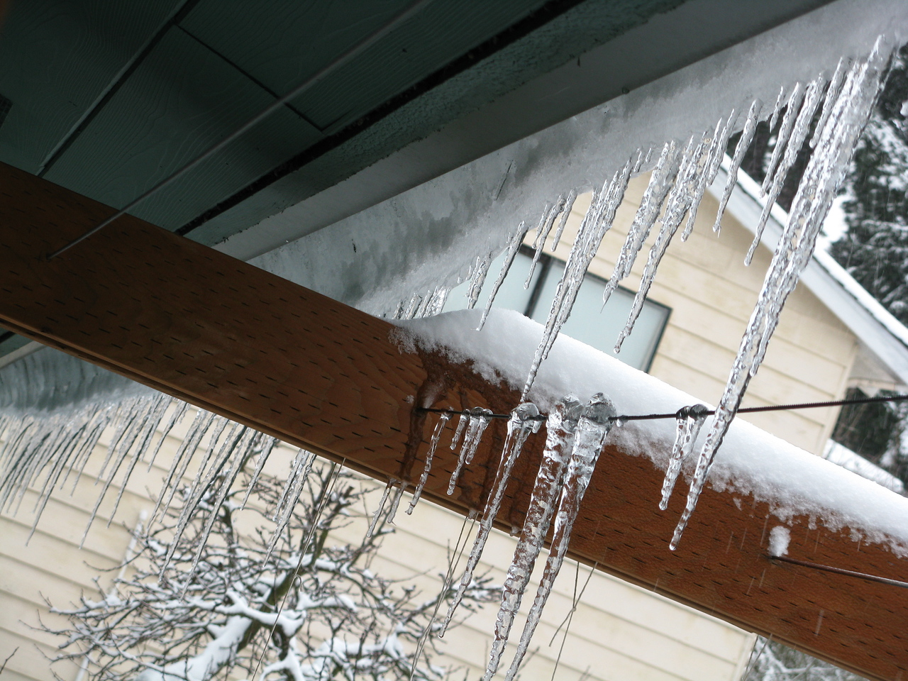 These are icicles hanging from the roof above our south deck.