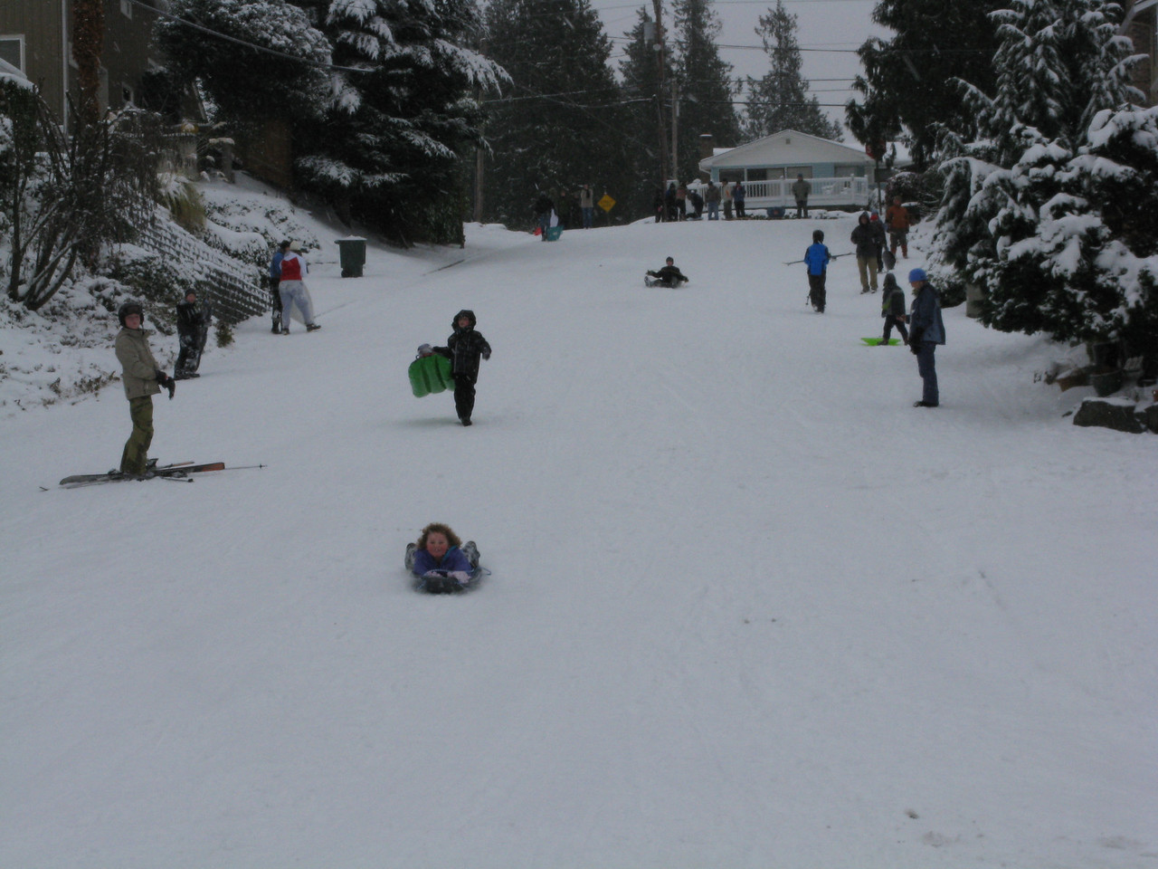I skiied north on 8th Avenue from our house to Cedar Street.  The steep incline on Cedar makes a fine sledding hill.