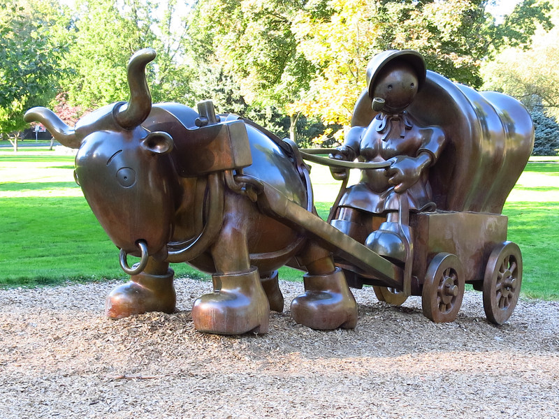A sculpture in a city park.