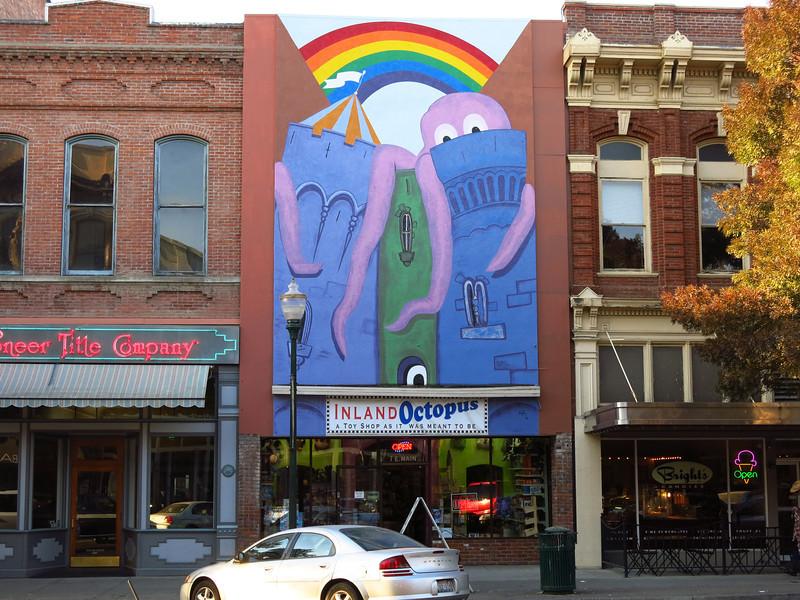 A mural above a toy store on Main Street.