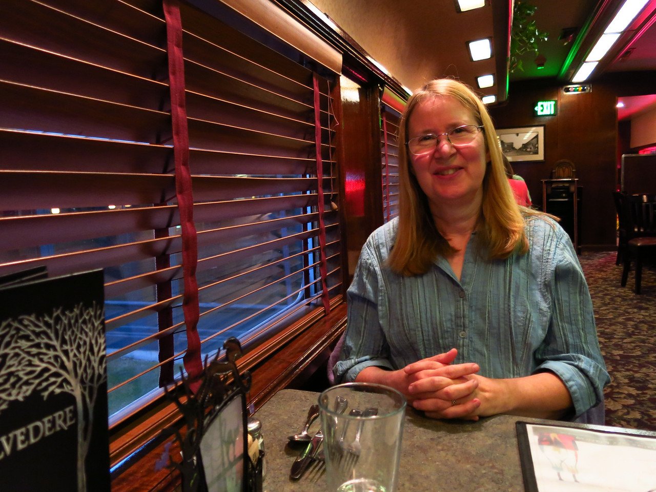 Mary is waiting for her dinner.   We had a good walk in Walla Walla.  On the following morning, Friday, October 12, we drove east on US Highway 12 to Dayton, Washington.