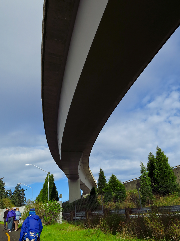 We walked under I-90 two times.  Here we are walking under an I-90 exit ramp.