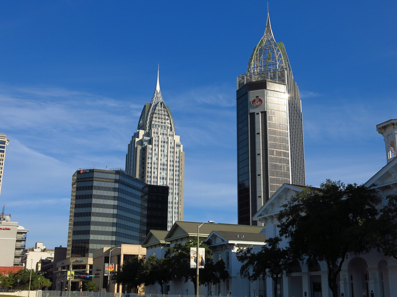 Building spires in downtown Mobile