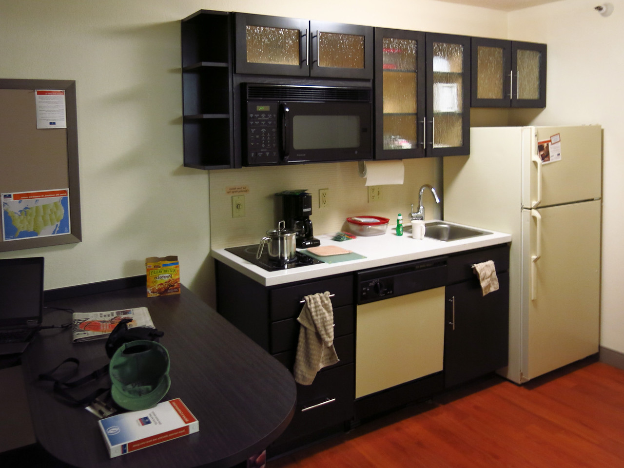 Nathan has a one room studio apartment with kitchenette at the Candlwood.