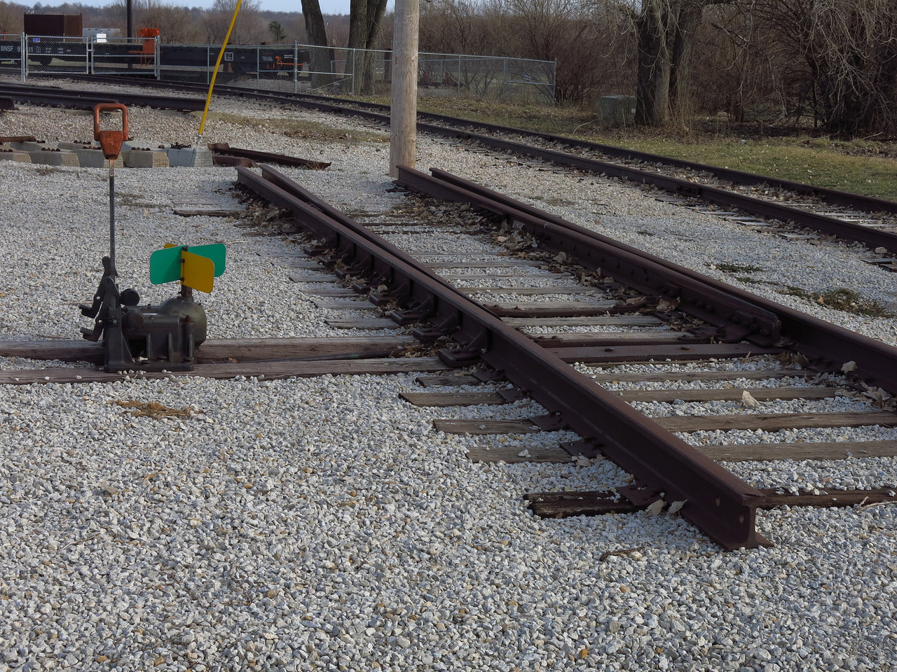 The laboratory for the training program at JCCC.  This image shows an example of one type of switch used on the the railroad.