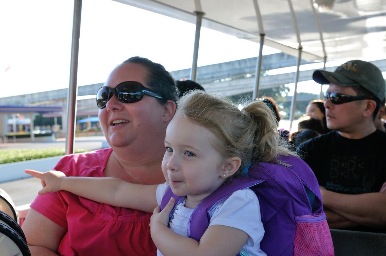 Riding the tram into Disney
