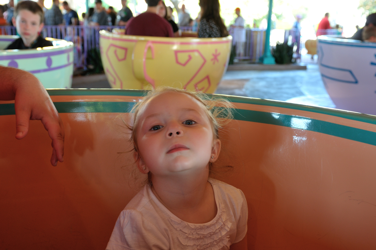 Riding the teacups for the first time