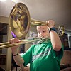 Kyson trying out Grandpa Larry's Trombone. He actually did really well!