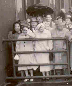 September, 1957 Detail of previous photo - Henry Kuck (at center) arriving on ship from Germany, probably 1955.