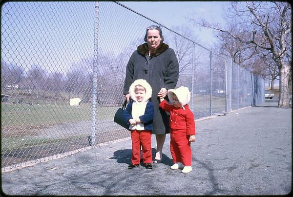 1964 Cadwalader Park, Trenton, NJ BACK - Mary Alice (Keating) Kuck. FRONT - LEFT TO RIGHT - Tammy (Petersack) Jennette and Susan Ann Szymanski.