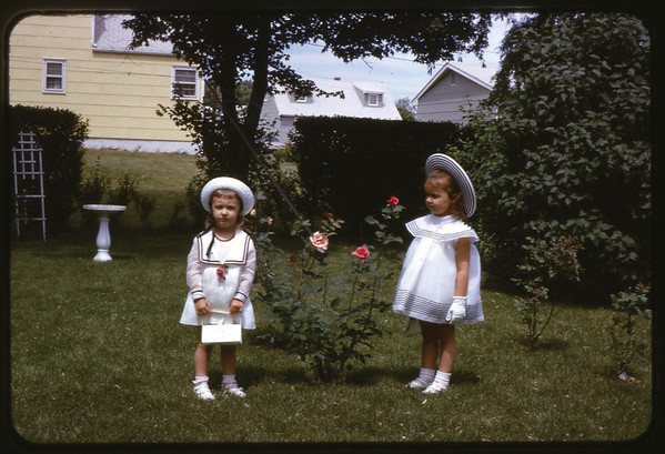 Easter 1966 at Ray Street, Maria and Susan.