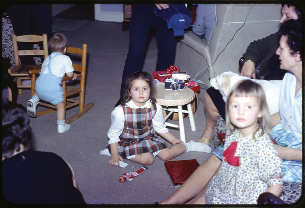 Christmas Eve 1966 at Spruce Street, Jon Jay, Susan, Maria, Nana.