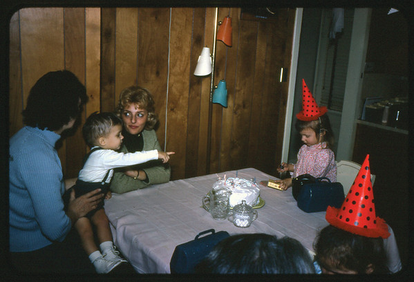 """January 30, 1967 21 Ray Street, Trenton, NJ LEFT TO RIGHT - Lottie (Krulikowski) Szymanski holding Jon Jay Szymanski, Ann """"Angie"""" Szymanski, Maria Jean (Szymanski) Mens."""