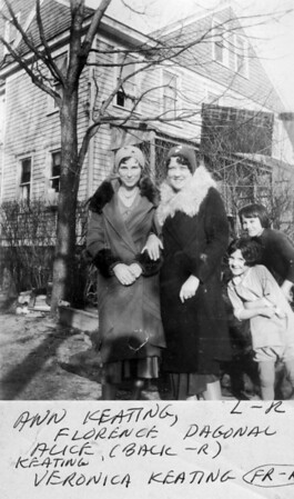 March 1, 1930 523 8th Avenue, Belmar, NJ Anna Regina (Keating) Morris, Florence Daigneault, Veronica Alice (Keating) Golaszewski and Alice Veronica (Keating) Brown.