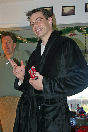 Those are CANDY cigarettes. And a new bathrobe.