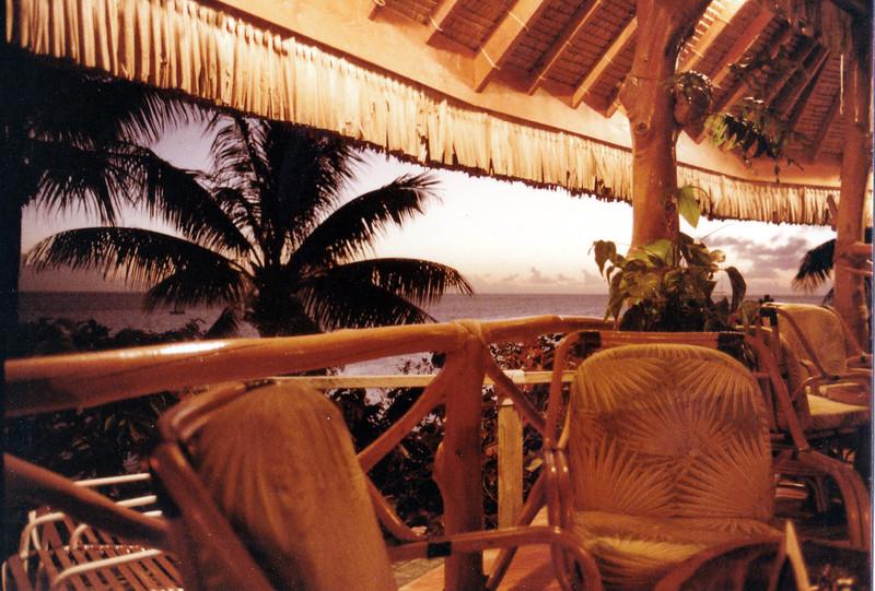 Bora Bora. Seating at the Bora Bora Hotel restaurant.