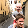 And on daddy's shoulders.  It's better than walking