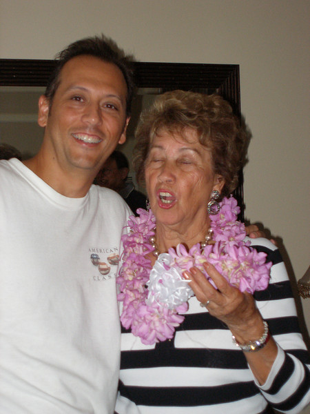 Andy with Mom enjoying her new lei