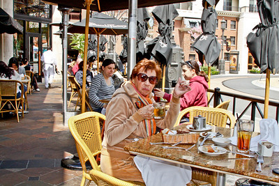 Dinning al fresco at the Cheesecake Factory at the Glendale Galleria. Mom had the herb crusted salmon.