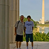 Neal & Keith at The Lincoln Memorial, with the reflecting pond, Washington Monument and The Capitol building in the background.