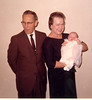 Loran and Veda Summers holding Kathryn Summers at her baby blessing 1966