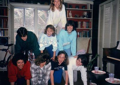 middle left to right- Lesli, cindy kirkham, wendy bottom- Sandi Christensen (beehives leader) Kathy Mills, Andi Person, Jenkins Beehives activity at Sandi Christensen's house, Montgomery Village Ward