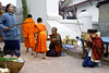 Buddhist Monks on morning alms collection