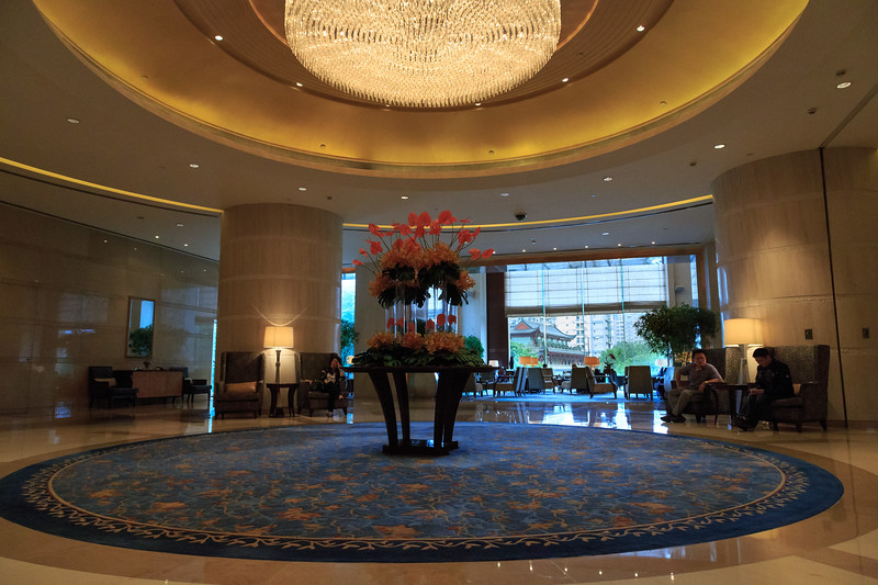 The lobby of the Shangri-la Hotel, our home for the week.