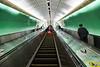 One of many long escalators in the Guangzhou Metro