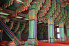 Beautiful interior colours in audience hall of Gyeongbokgung Palace
