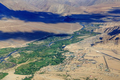View of Leh Airport and the Indus River
