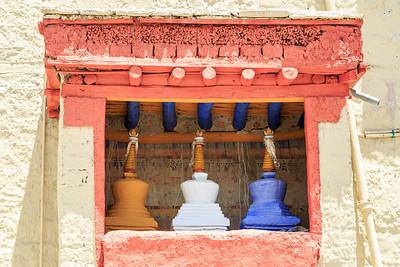 Three colour stupas at Stok Palace & Museum