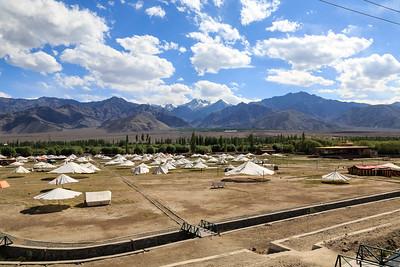 The field at Jevetsal, Shey where the Dalai Lama gives lengthy sermons