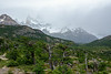 View towards Fitz Roy, hidden in the rain and cloud