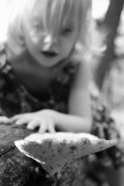 A little girl investigates a huge mushroom.