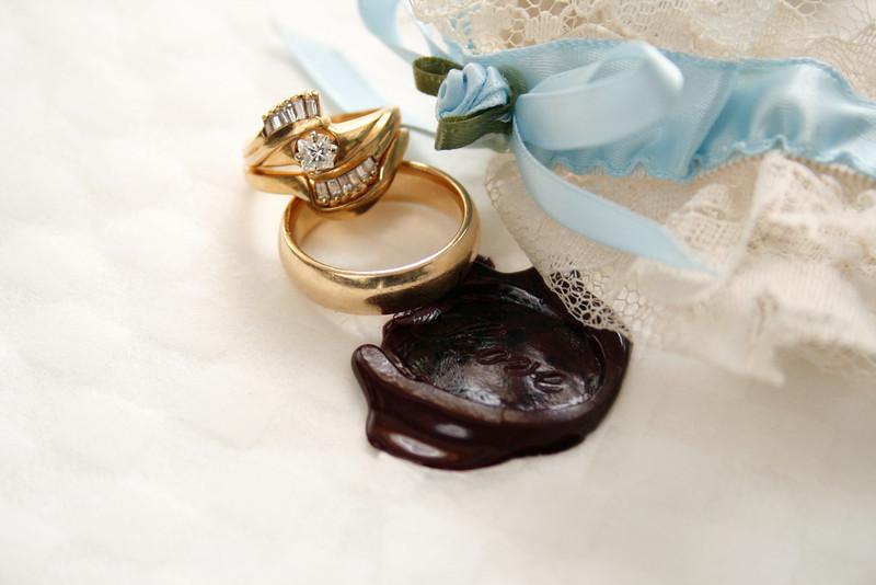 Blue garter and a custom wedding ring.