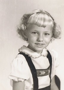 Erna, gr 1 school photo.  Mom cut my bangs the morning of the photo.