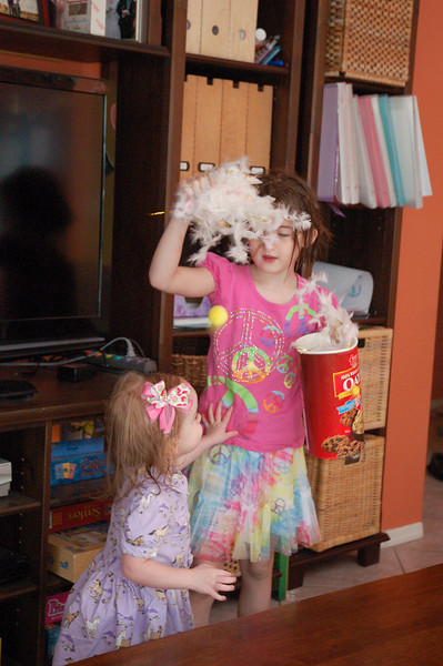 Niamh's actual birthday.  Ainsley planned a grand surprise of feathers and confetti to surprise her sister.