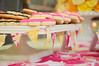Mini bunting in my party fabrics on the cake stands.