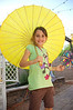 Sofia, showing off her parasol and fan.